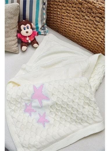 Arma House Çift Taraflı Peluş Pembe Yıldızlı Beyaz Bebek Battaniyesi Renkli